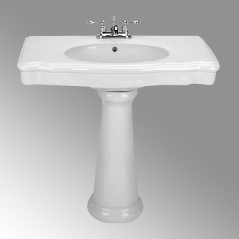 White China Darbyshire Pedestal Sink Centerset Faucet Holes With  Overflow12786grid