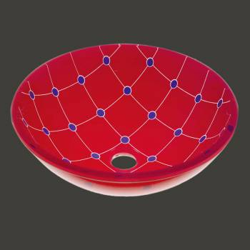 Glass Sinks - Spiderweb - Red/Blue 