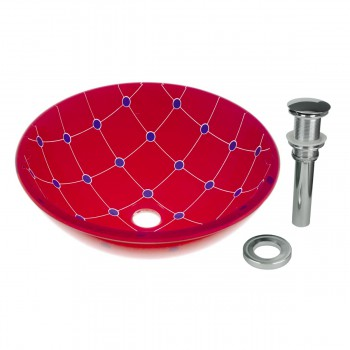Spiderweb Tempered Glass Vessel Sink with Drain, Red-Blue Double Layer Bowl Sink12788grid