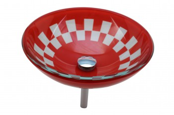 Red and White Tempered Vessel Sink with Drain, Checkered Design Bowl Sink 12792grid