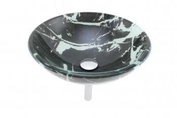 Tempered Glass Vessel Sink with Drain Black-White Granite Double Layer Bowl Sink12794grid