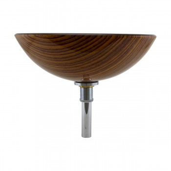 <PRE>Wood Grain Tempered Glass Vessel Sink Double Layer Brown Bowl with Drain</PRE>zoom2