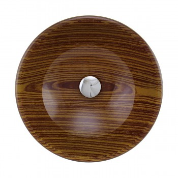 <PRE>Wood Grain Tempered Glass Vessel Sink Double Layer Brown Bowl with Drain</PRE>zoom3