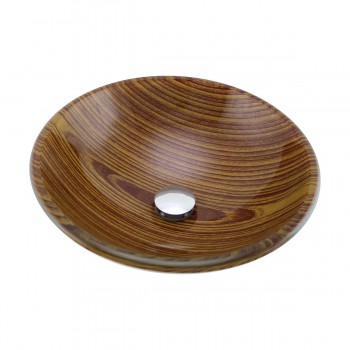 <PRE>Wood Grain Tempered Glass Vessel Sink Double Layer Brown Bowl with Drain</PRE>zoom4