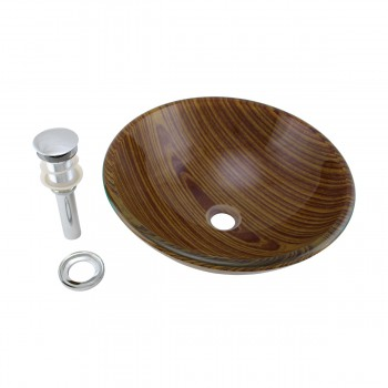 Wood Grain Tempered Glass Vessel Sink Double Layer Brown Bowl with Drain bathroom vessel sinks Countertop vessel sink ceramic porcelain basin remodel