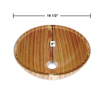 spec-<PRE>Wood Grain Tempered Glass Vessel Sink with Drain, Double Layer Brown Bowl Sink</PRE>