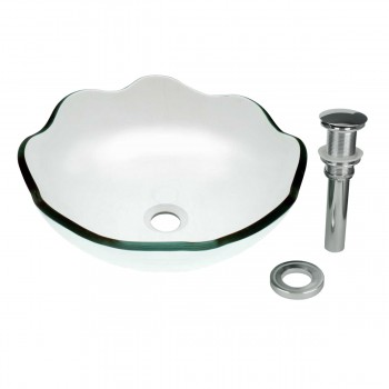 Clear Tempered Glass Sink with Drain, Single Layer 8 Petal Bowl Sink 12804grid