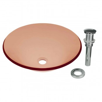<PRE>Red Tempered Glass Vessel Sink with Drain, Hat Shape Single Layer Bowl Sink </PRE>zoom1
