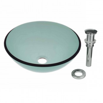 Tempered Glass Vessel Sink with Drain, Green Single Layer Bowl Sink 12813grid