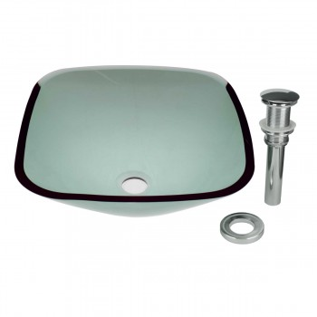 Green Tempered Glass Vessel Sink with Drain, Sweet Pea Single Layer Bowl Sink12815grid