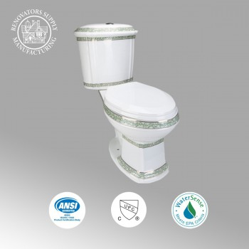 Elongated Two Piece Dual Flush Bathroom Toilet with No Slam Seat Green and White Two Piece TwoPiece 2piece Dual Duel Top of Tank Button Push High Low HighLow Flush Volume 1.28 GPF California ADA Cupc Watersense Compliant