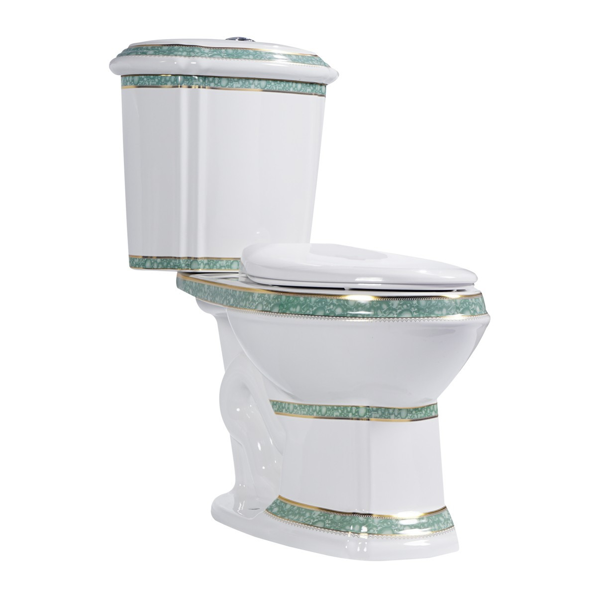 White Green Dual Flush Elongated Toilet The Renovators