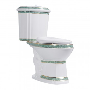 Dual Flush Elongated Two Piece Bathroom Toilet Green and White Slow Close Seat12816grid