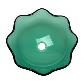 <PRE>Green Tempered Glass Vessel Sink with Drain, Petal Style Single Layer Bowl Sink </PRE>