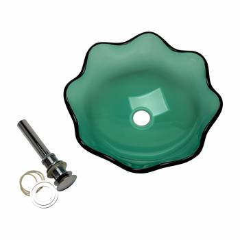 Green Tempered Glass Vessel Sink with Drain, Petal Style Single Layer Bowl Sink 12818grid