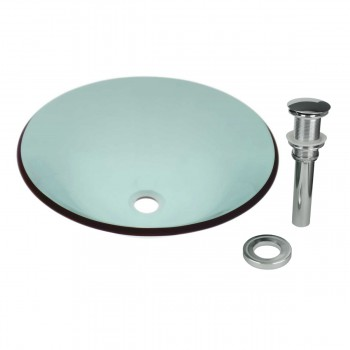 Tempered Glass Vessel Sink with Drain, Hat Shape Green Bowl Sink 12819grid
