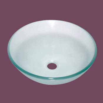 Glass Vessel Sink  Barton Cove Clear with Green Tint Round - Glass sinks, Glass sink info & unique Glass accessories, quantity discounts on Glass sinks, Glass pedestal sinks, Glass wall mount sinks, Glass console sinks, counter top Glass sinks, Glass counter top sinks, Glass pedestal sinks, bathroom fixtures, Glass bathroom sinks, sink faucets & free shipping by Renovator's Supply.