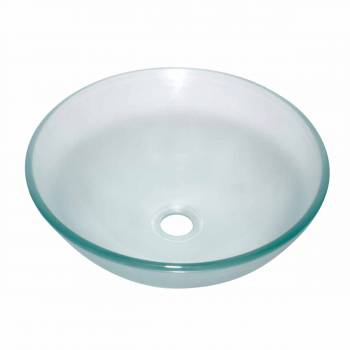 Clear Tempered Glass Sink with Drain, Round Frosted Bowl Sink 12834grid
