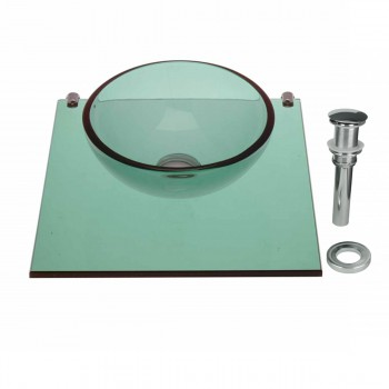 Tempered Glass Vessel Sink with Drain and Shelf, Green Glass Bowl Sink 12837grid