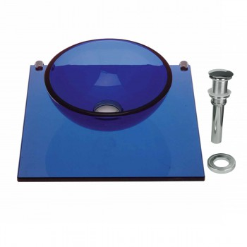 Tempered Glass Vessel Sink with Drain and Shelf, Blue Glass Bowl Sink 12838grid