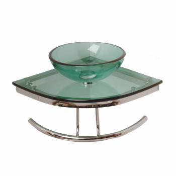 Zephyr Glass Corner Sink Green