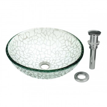 Tempered Glass Vessel Sink with Drain, Textured Frosted Glass Round Bowl Sink 12844grid