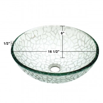spec-<PRE>Tempered Glass Vessel Sink with Drain, Textured Frosted Glass Round Bowl Sink </PRE>