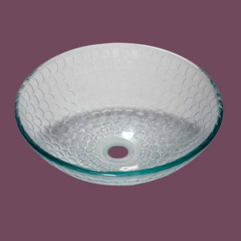 Glass Sinks - Cold Springs - Textured Frosted with Slight Green Tint Glass Vessel Sink - Round by the Renovator's Supply