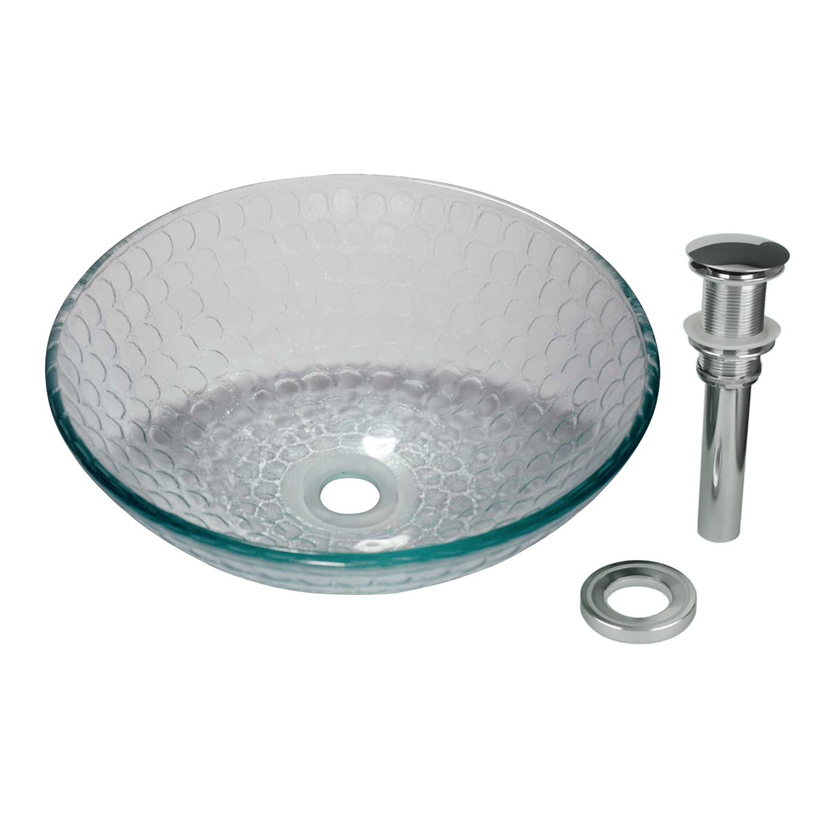 Tempered Glass Vessel Sink With Drain Frosted Green Bowl Sink