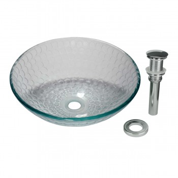 Tempered Glass Vessel Sink with Drain Frosted Green Bowl Sink 12847grid
