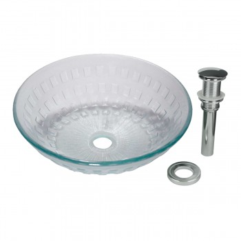 <PRE>Renovator's Supply Bathroom Tempered Clear Glass Vessel Sink Round Pop-Up Drain </PRE>zoom1