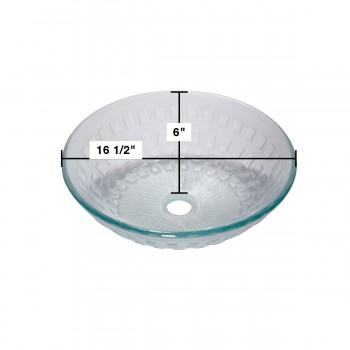 spec-<PRE>Renovator's Supply Bathroom Tempered Clear Glass Vessel Sink Round Pop-Up Drain </PRE>