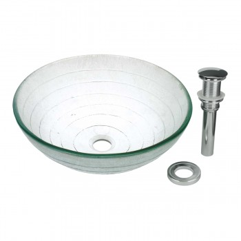 Tempered glass vessel sink with drain frosted green bowl sink above counter for Above counter bathroom sinks glass