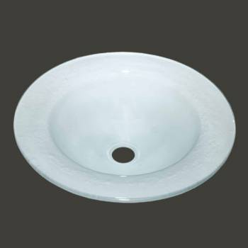 Vessel Sinks - Glass Vessel Sink Frosted Saturn Shape by the Renovator's Supply