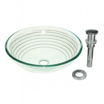 Tempered Glass Vessel Sink with Drain Textured Circle Design Bowl Sink 12858grid