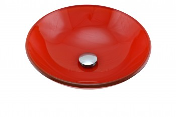 <PRE>Orange Tempered Glass Sink with Drain, Single Layer Round Bowl Sink</PRE>
