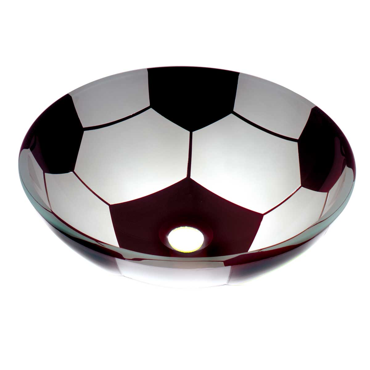 Tempered Glass Vessel Sink With Drain Single Layer Painted Soccer Ball Bowl  Sink