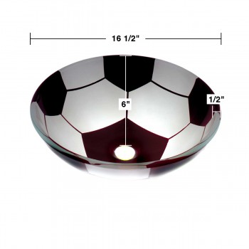 spec-<PRE>Tempered Glass Vessel Sink with Drain Single Layer Painted Soccer Ball Bowl Sink</PRE>