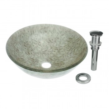 Tempered Glass Vessel Sink with Drain Single Layer Money Painted Round Bowl Sink12863grid