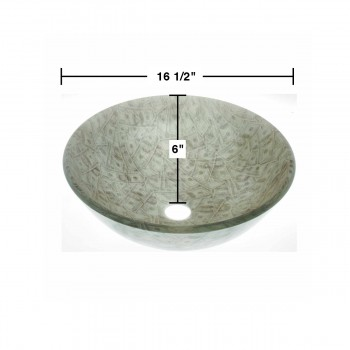spec-<PRE>Tempered Glass Vessel Sink with Drain Single Layer Money Painted Round Bowl Sink</PRE>