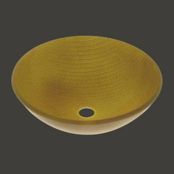 Vessel Sinks - Glass Vessel Sink Brick Mustard Yellow Round by the Renovator's Supply