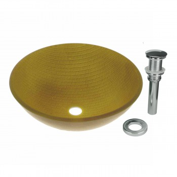Renovator's Supply Mustard Glass Vessel Bathroom Sink Bowl Round with Drain12865grid