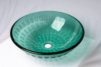 Tempered Glass Vessel Frosted Green Bathroom Sink Pop-up In 12867grid