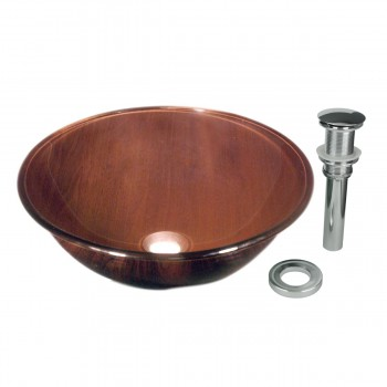 Wood Grain - Brown  Glass Vessel Sink - Barrel