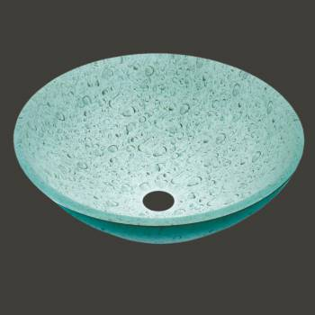 Glass Vessel Sink Painted Gray/Green Water Drop  Round - Glass sinks, Glass sink info & unique Glass accessories, quantity discounts on Glass sinks, Glass pedestal sinks, Glass wall mount sinks, Glass console sinks, counter top Glass sinks, Glass counter top sinks, Glass pedestal sinks, bathroom fixtures, Glass bathroom sinks, sink faucets & free shipping by Renovator's Supply.