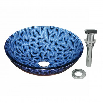Bathroom Tempered Glass Vessel Sink With Drain Blue White Black Round Bowl Basin