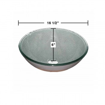 spec-<PRE>Tempered Glass Vessel Sink with Drain, Diamond Painted Glass Vessel Sink </PRE>