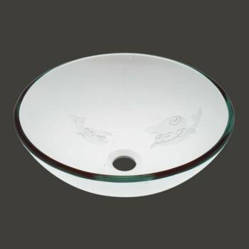 <PRE>Bathroom Tempered Glass Vessel Sink Etched Fish Frosted Bowl Basin Pop Up Drain </PRE>zoom2