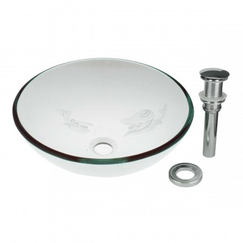 Tempered Glass Vessel Sink with Drain, Etched Fish Frosted Glass Bowl Sink 12882grid