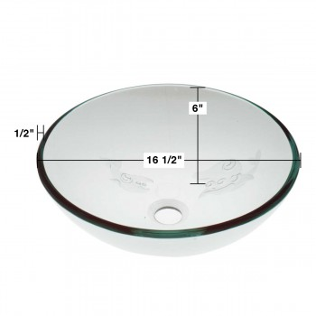 spec-<PRE>Bathroom Tempered Glass Vessel Sink Etched Fish Frosted Bowl Basin Pop Up Drain </PRE>